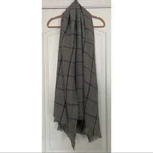 H&M Gray Plaid Blanket Scarf